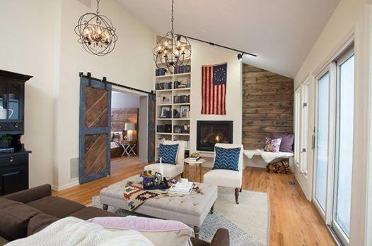 Family room with sliding barn door on flat track.