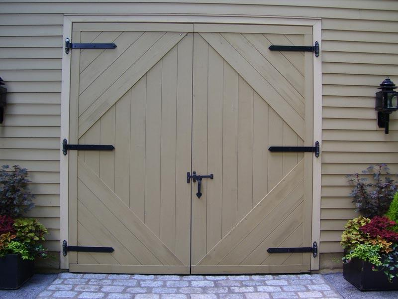 Carriage House with heavy duty strap hinges.