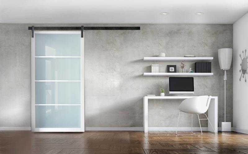 Spare Guest Bedroom and office with Glass Panel Door using Sliding Flat Track Hardware