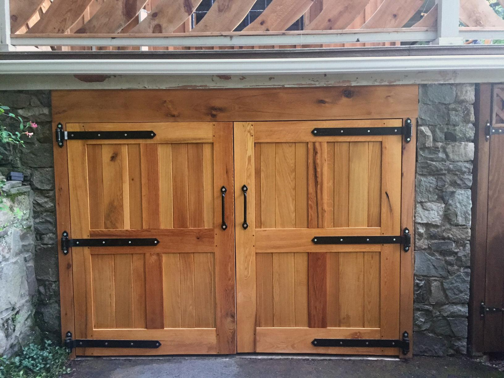 Rustic Double Doors with Black Hinges and Handles