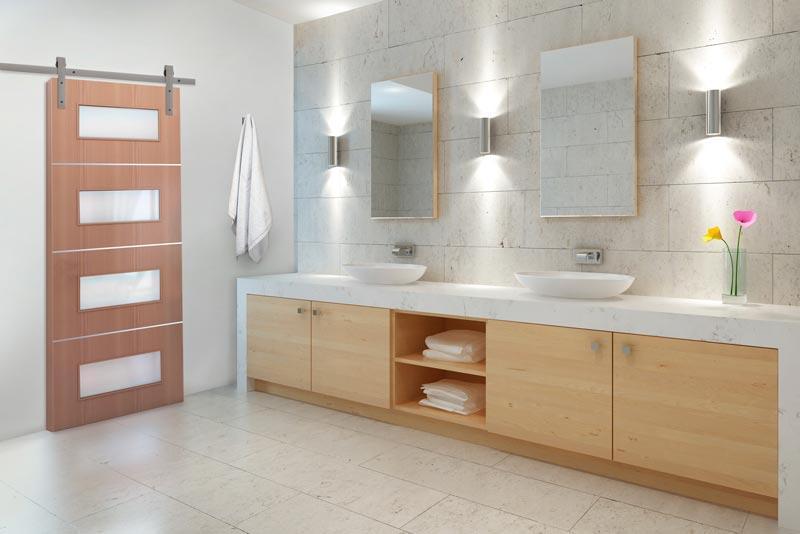 Aluminum Color Flat track hardware for modern bathroom.