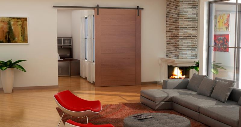 Living space with flat track hardware.