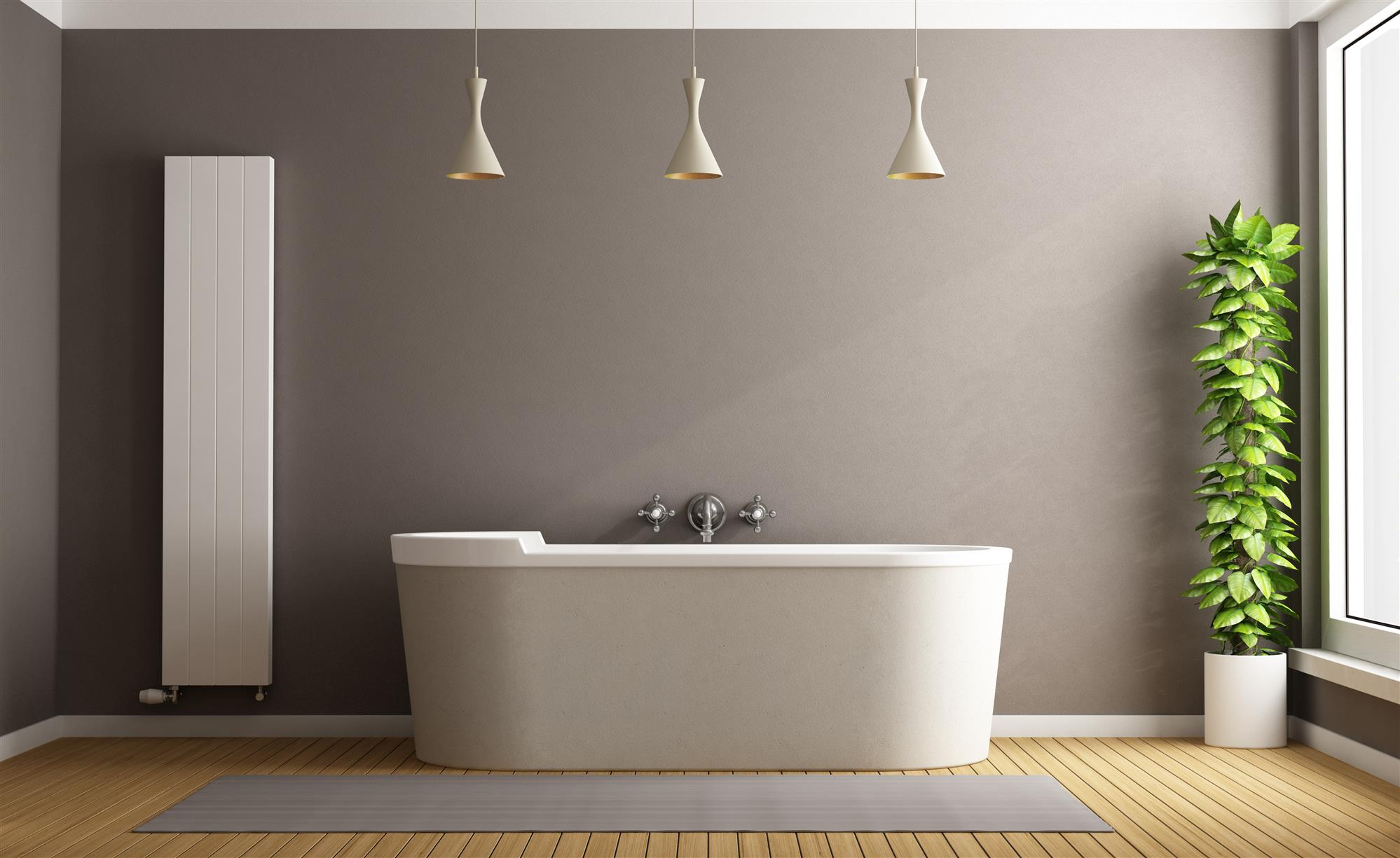Bathtub with lights and simple decor