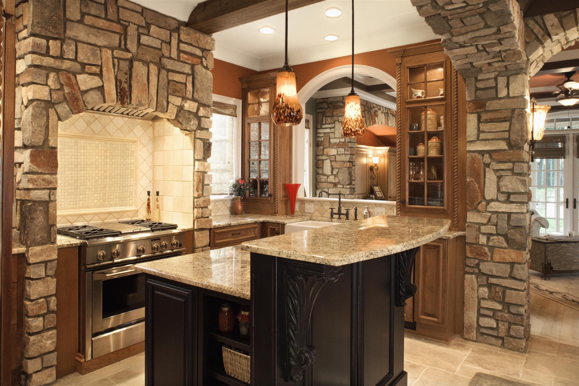Kitchen with Stone Walls